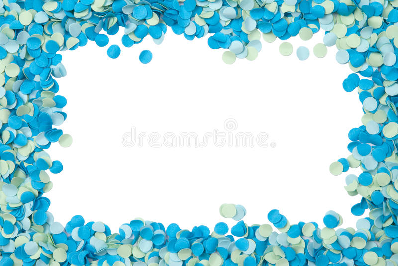 Blue confetti frame stock images