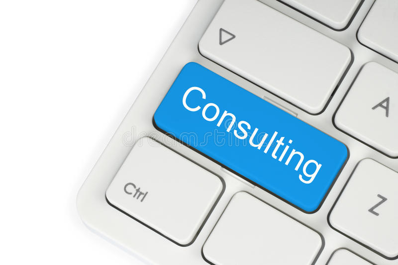 Blue consulting keyboard button stock photo