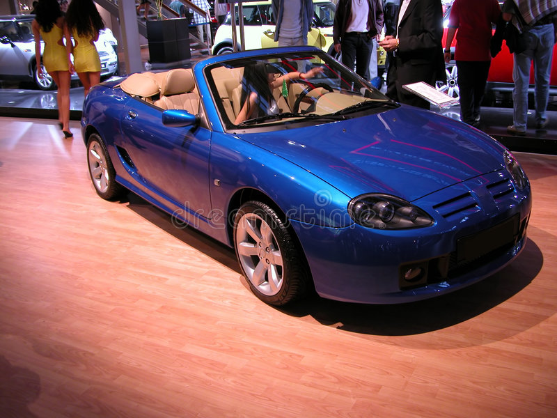 Blue convertible royalty free stock image