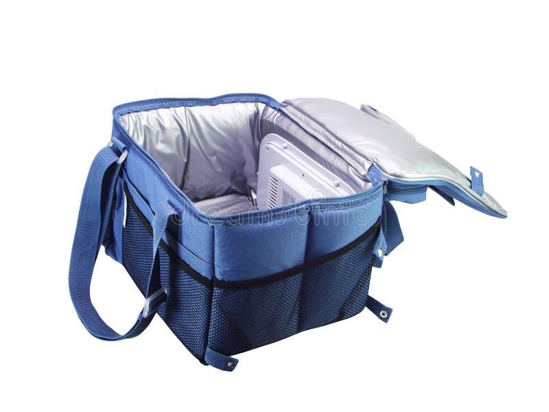 Blue cooler bag stock image