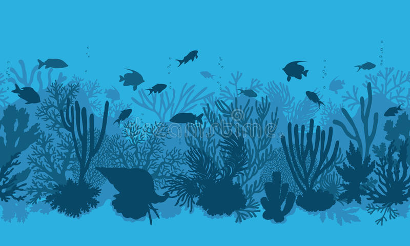 Blue Coral Reef and Fishes Pattern stock illustration
