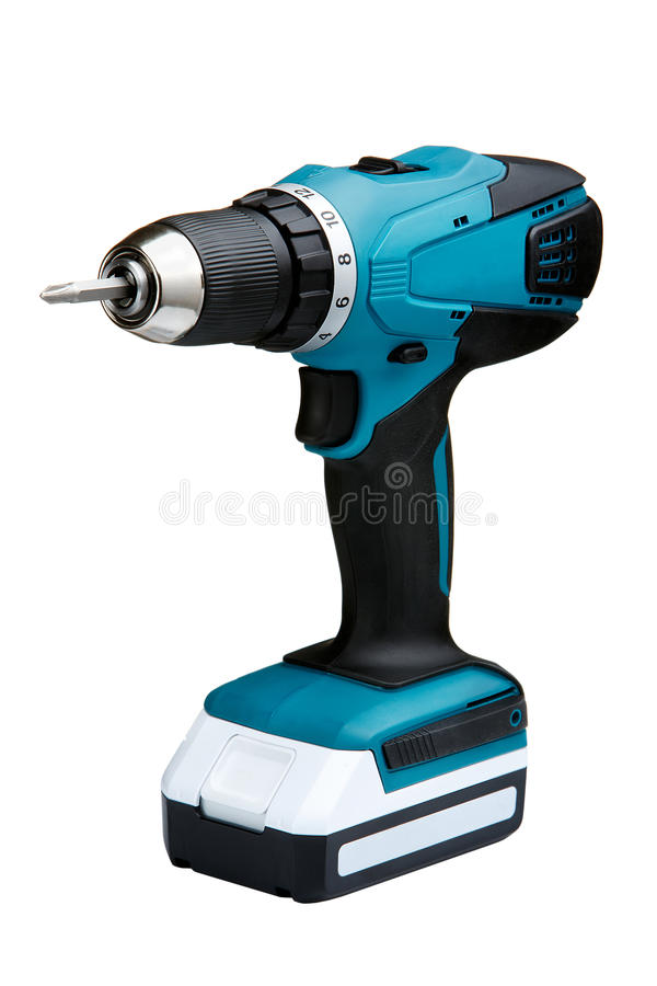 Blue cordless screwdriver with a drill isolated on white background royalty free stock photography