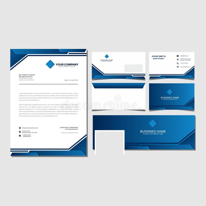 Blue corporate brand identity and bussines set template vector. Blue corporate brand identity set and bussines template vector royalty free illustration