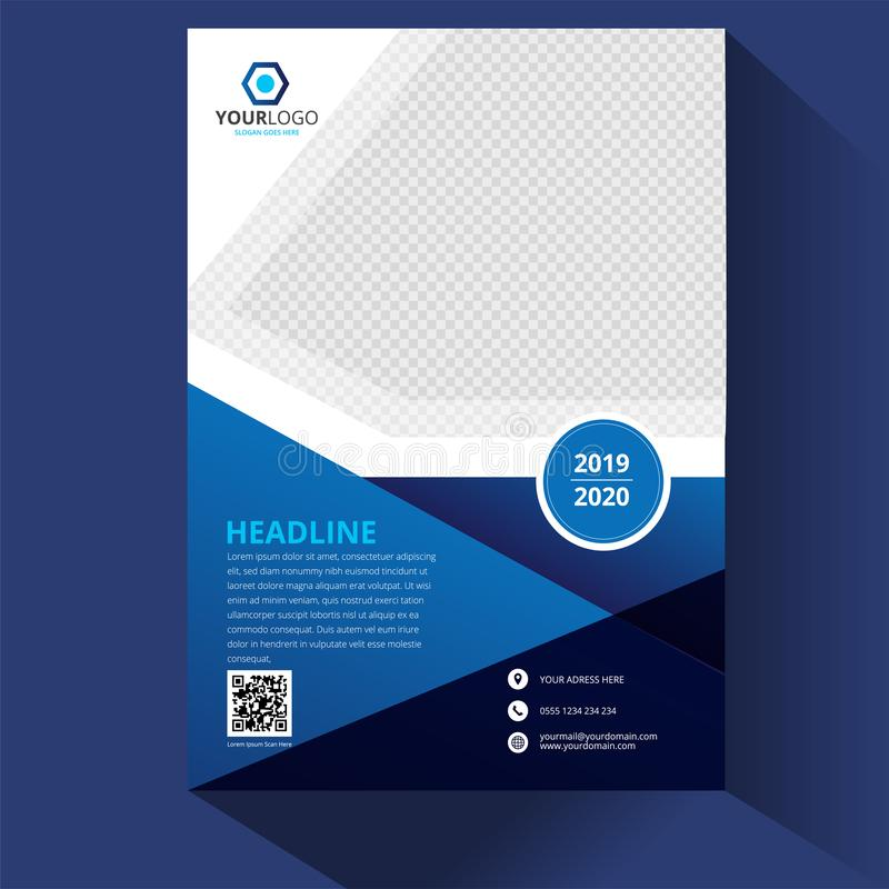 Blue Corporate business annual report brochure flyer design. Leaflet cover presentation. Catalog with Abstract geometric stock illustration