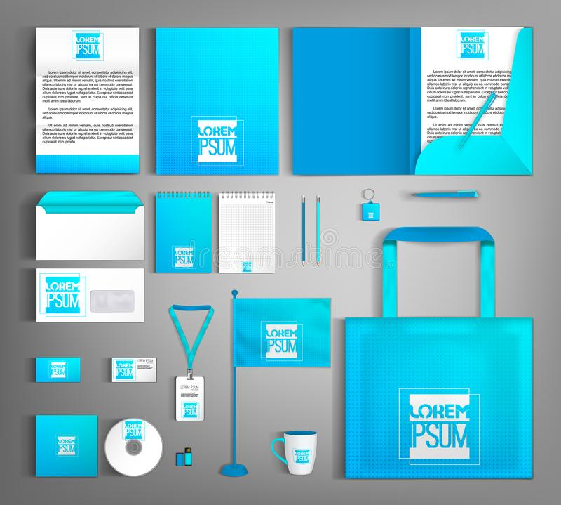 Blue corporate identity. Bright modern editable template. Vector illustration stock illustration