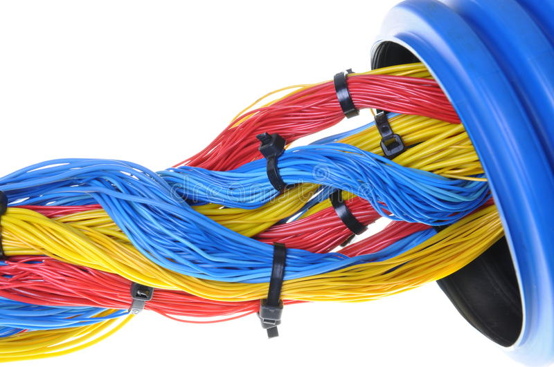Blue Corrugated Pipe With Red Cables Royalty Free Stock Image