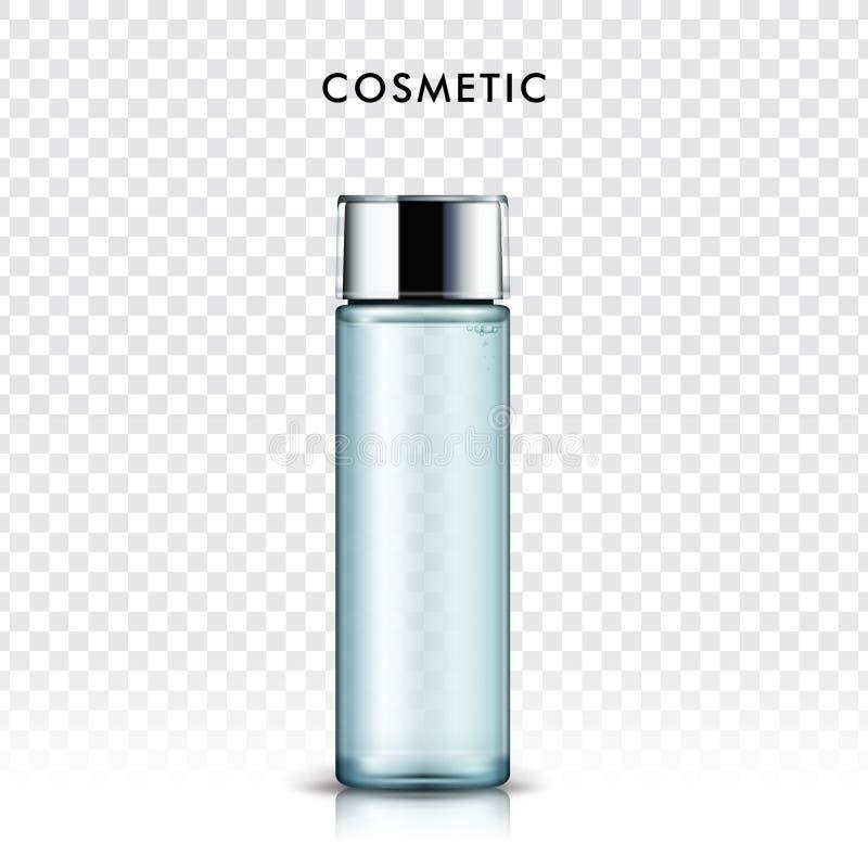 Blue cosmetic bottle. Transparent glass bottle on transparent background in 3d illustration vector illustration