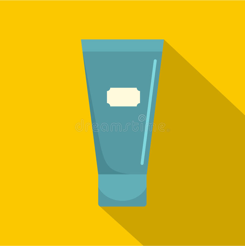 Blue cosmetic tube of cream or gel icon flat style royalty free illustration