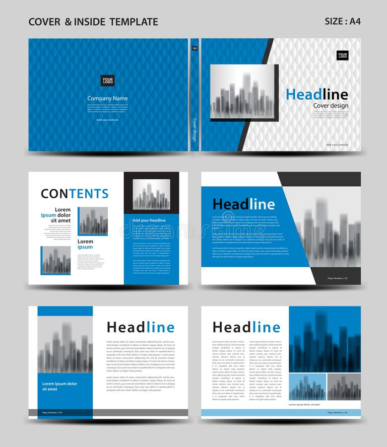 Blue Cover design and inside template for magazine, ads, presentation, annual report, book, leaflet, poster, catalog, printing. Media, newsletter, business royalty free illustration