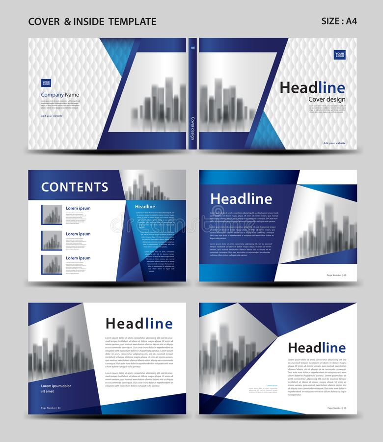 Blue Cover design and inside template for magazine, ads, presentation, annual report, book, leaflet, poster, catalog, printing stock illustration