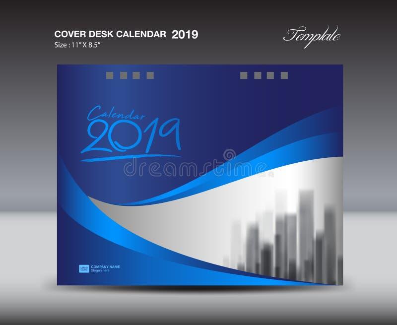 Blue Cover Desk Calendar 2019 Design template, flyer template, ads, booklet, catalog, newsletter, book layout, printing media. Advertisement, blue background vector illustration