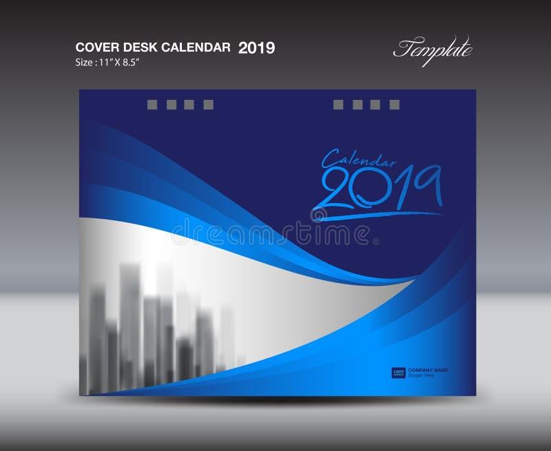 Blue Cover Desk Calendar 2019 Design template, flyer template, ads, booklet, catalog, newsletter, book layout, printing media. Advertisement, blue background royalty free illustration