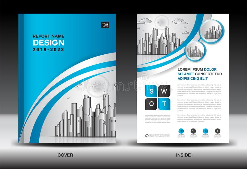 Blue Cover template With city landscape, Annual report cover design, Business brochure flyer template, advertisement vector illustration