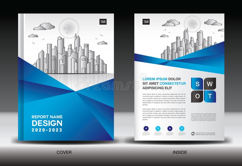 Blue Cover template With city landscape, Annual report cover design, Business brochure flyer template, advertisement, book cover. Blue Cover template With city royalty free illustration