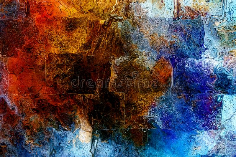 Blue crackle wall texture, color crackle background.  royalty free stock image