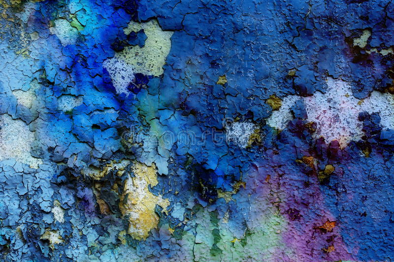 Blue crackle wall texture, color crackle background.  royalty free stock images