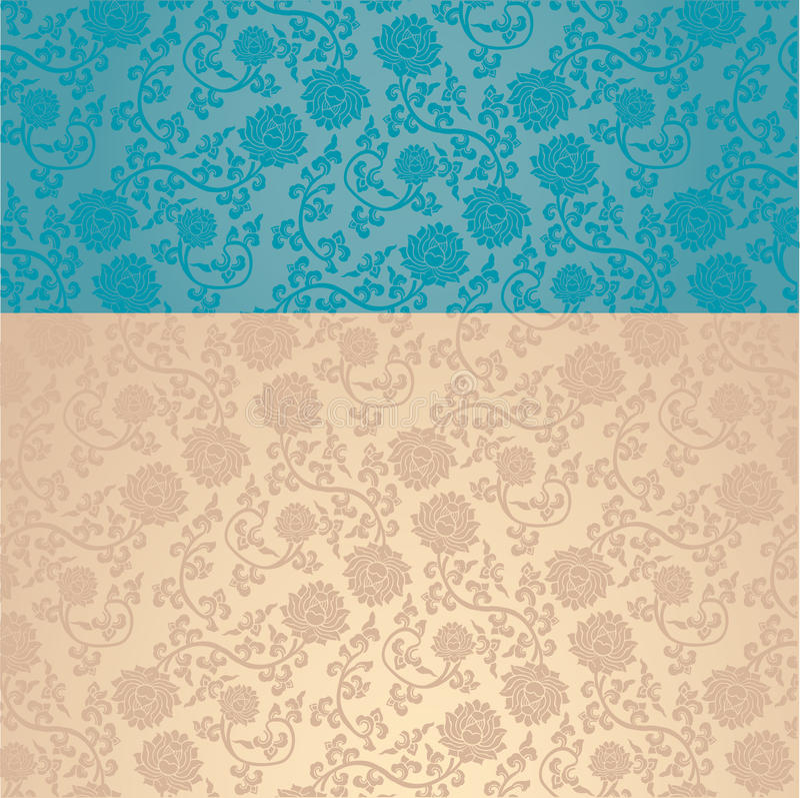 Download Blue And Cream Asian Lotus Wallpaper Horizontal Banner Stock Vector