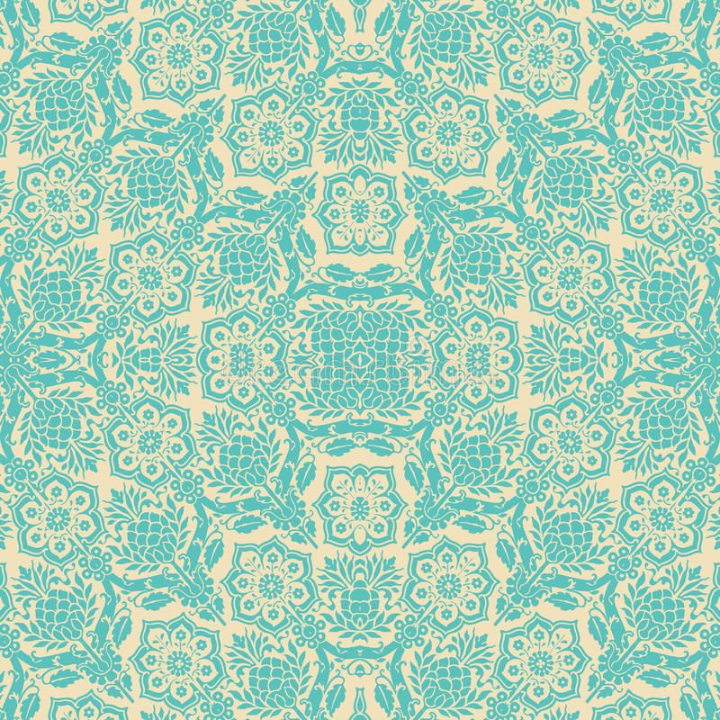 Free Blue Cream Floral Damask Seamless Pattern Royalty Free Stock Photography - 16310447