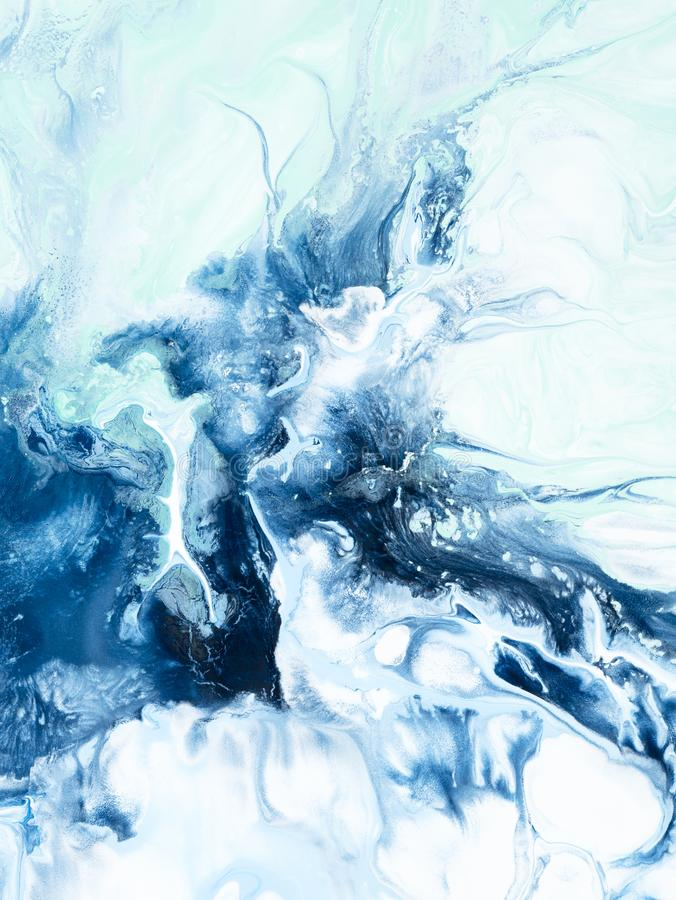 Blue creative abstract hand painted background, marble texture, abstract ocean. Fantastic Blue creative abstract hand painted background, marble texture stock illustration