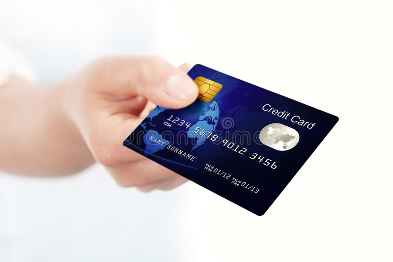 Download Blue Credit Card Holded By Hand Stock Image - Image: 25100973