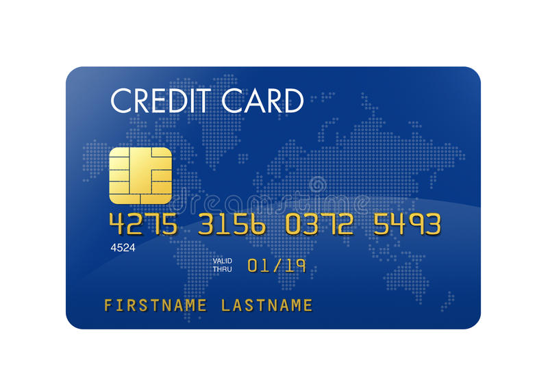 Blue credit card with world map royalty free illustration