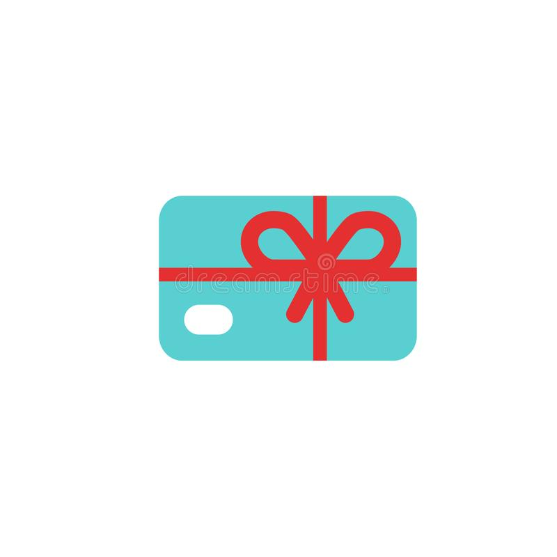 Blue credit debit card with red bow and ribbon. Gift card icon. Bank present sign. Vector flat icon isolated vector illustration