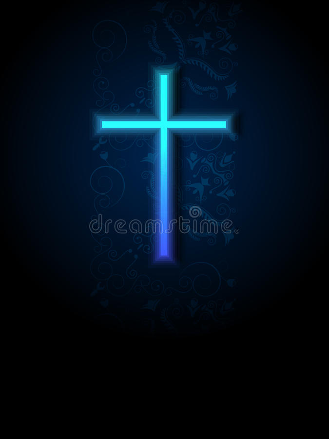 Free Blue Cross With Damask Background. Royalty Free Stock Photo - 26858075