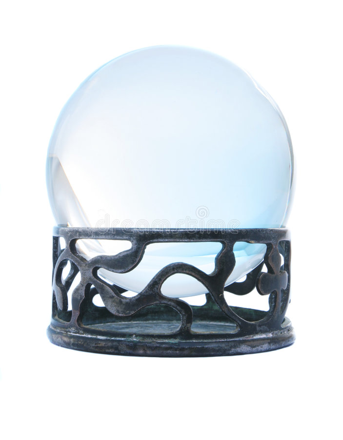 Blue crystal ball on stand. Isolated in white stock photography