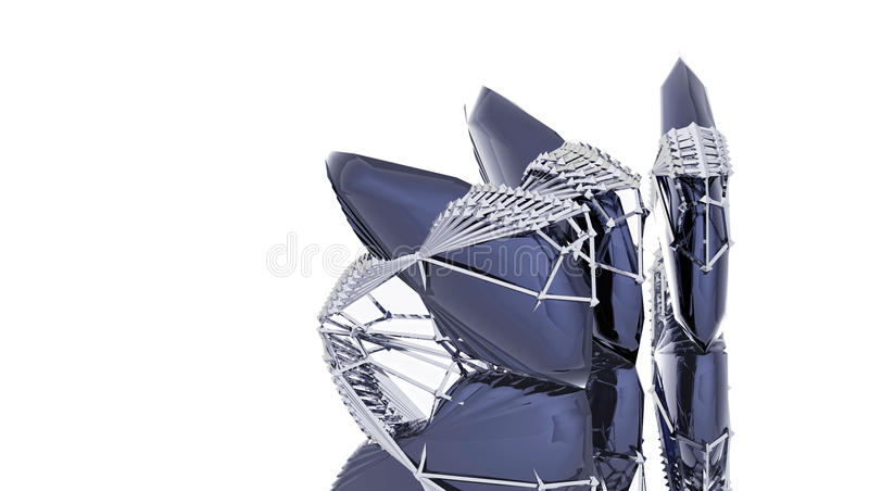 Download Blue Crystal In The Carcass Of Metal Royalty Free Stock Images - Image: 26060629