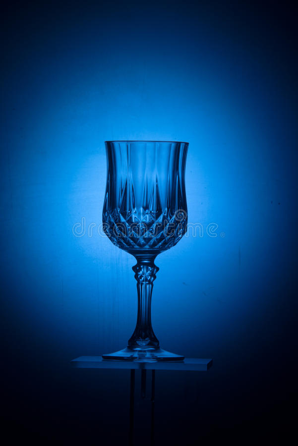 Blue crystal glass stock photography