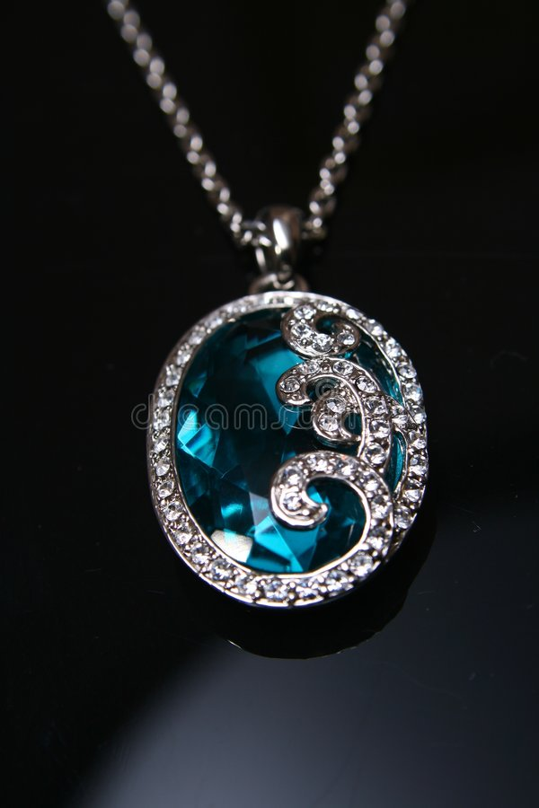 Blue crystal necklace stock images