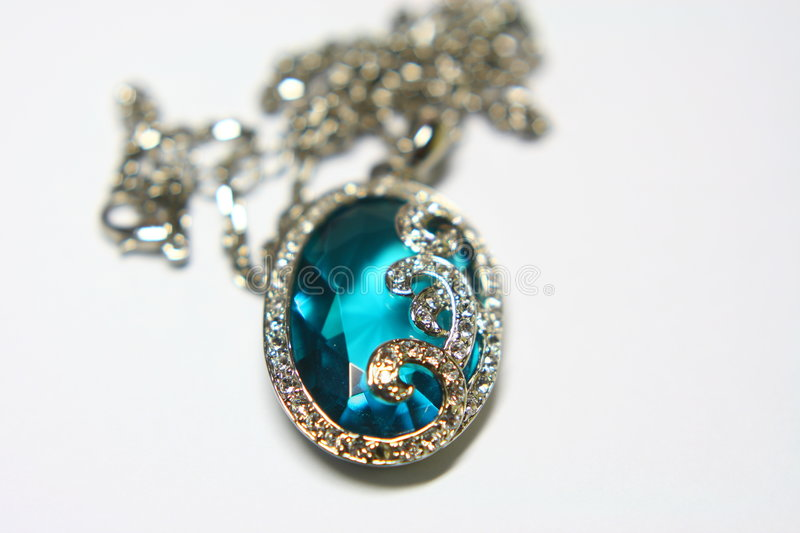 Blue crystal necklace royalty free stock photos