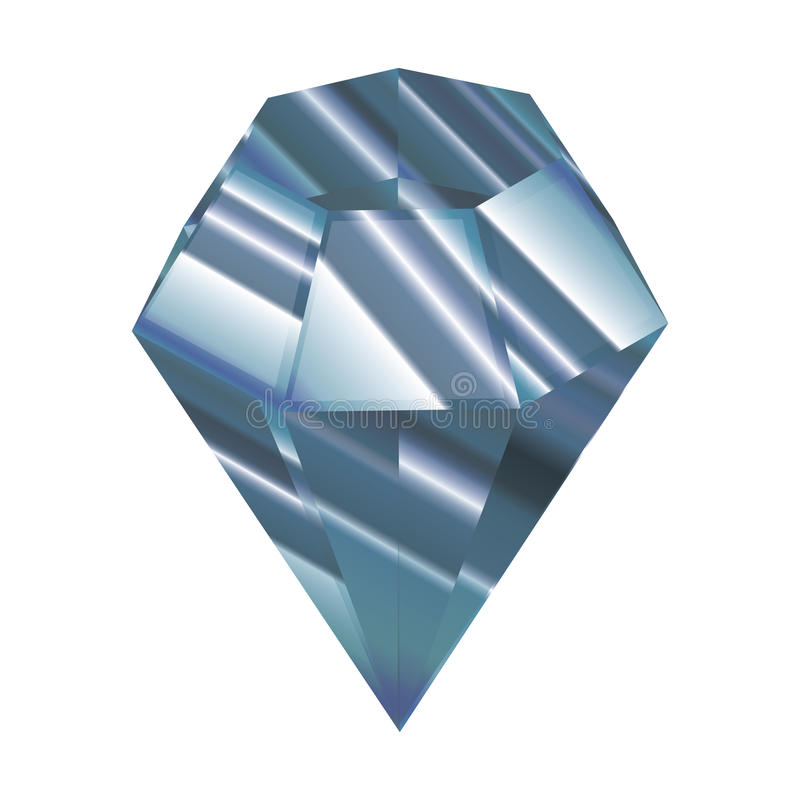 Blue crystal. vector illustration. Faceted jewel. a beautiful diamond. royalty free illustration