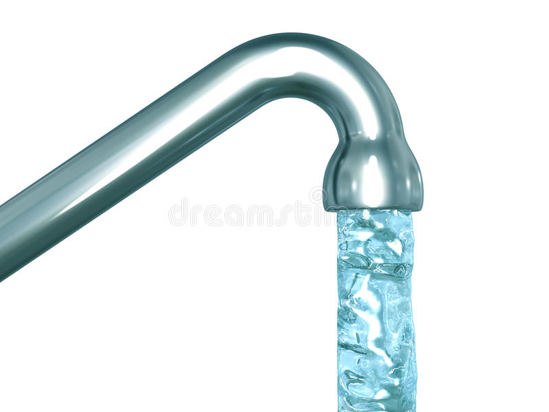 Blue crystal water flow out of a tap