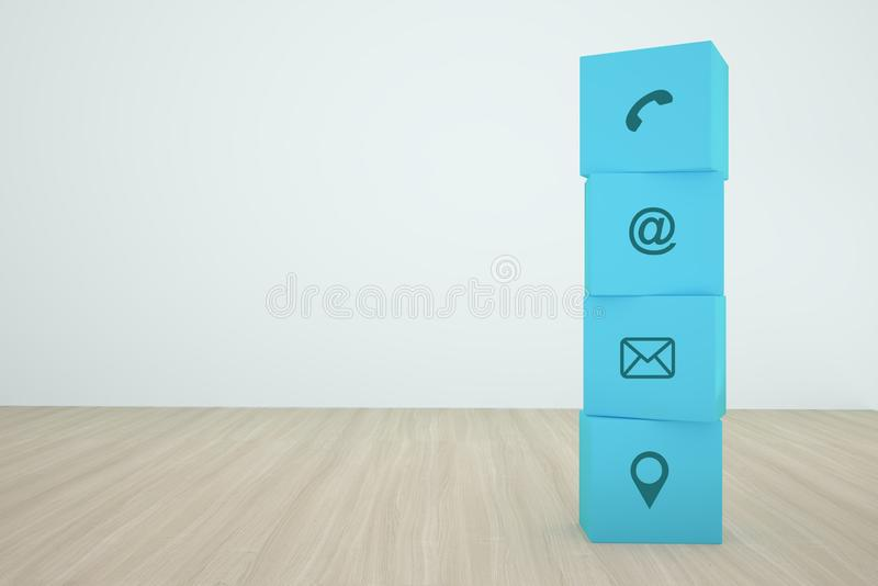 Blue cube block stacking with contact Icon arranging In a row on wood background. Concept of business strategy and action plan.  stock photos