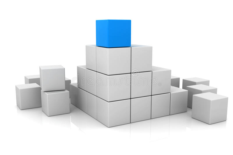 Blue cube and white cubes 3d vector illustration