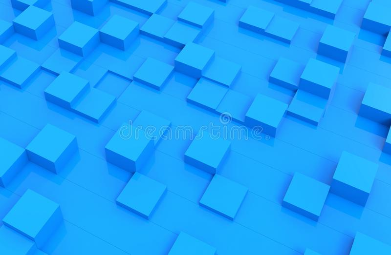 Blue cubes abstract background pattern. 3d illustration.  royalty free stock photos