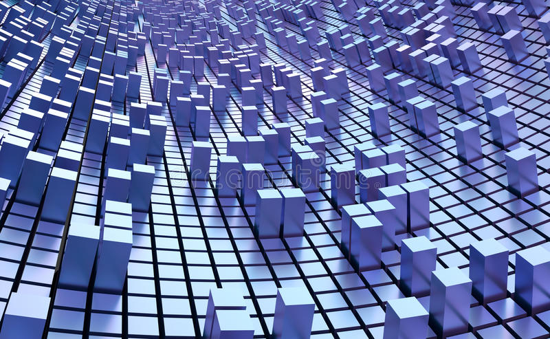 Blue Cubes Wall Background stock illustration