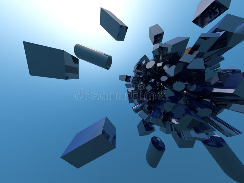Blue cubism royalty free stock images