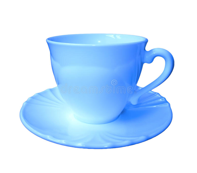 Blue cup on a saucer isolated on white background stock photos
