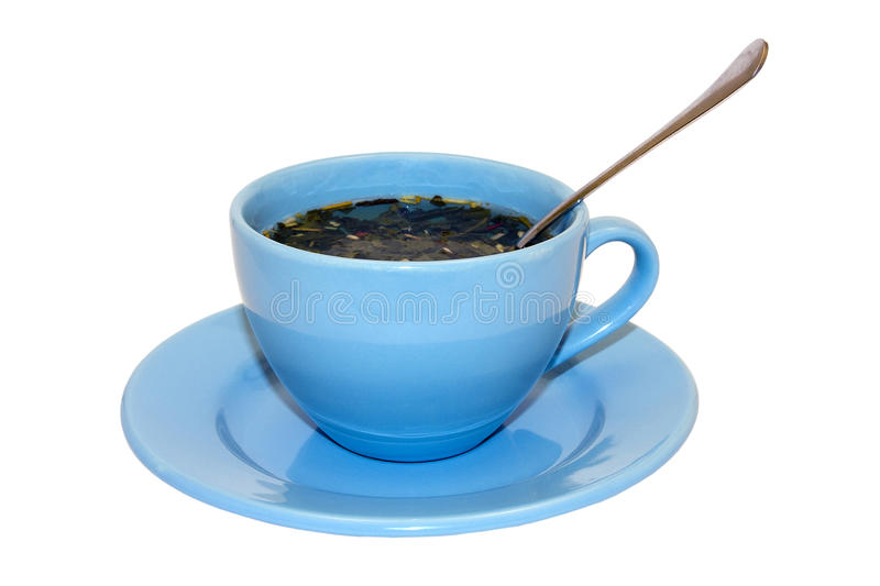 Blue Cup And Spoon Royalty Free Stock Image