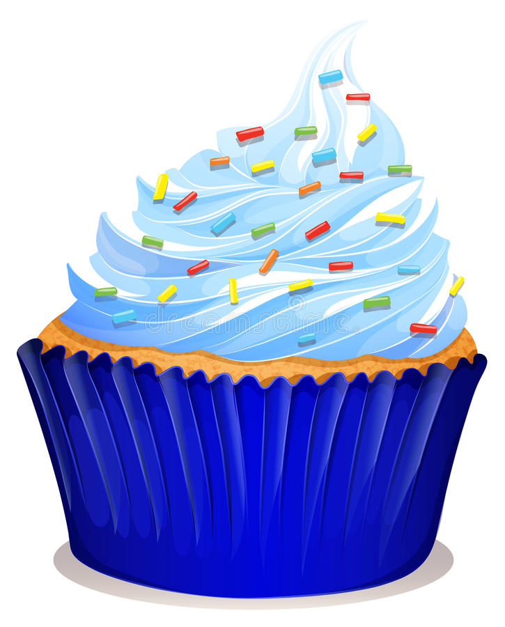 Blue cupcake with frosting stock illustration