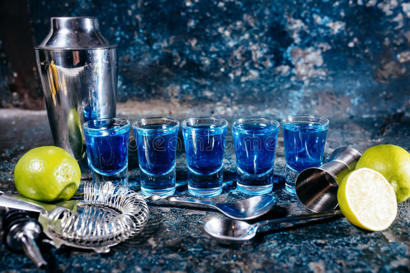 Download Blue Curacao, Alcoholic Strong Drinks. Cocktails And Garnish At Bar, Pub Or Restaurant Stock Image - Image of drink, beverage: 66429829