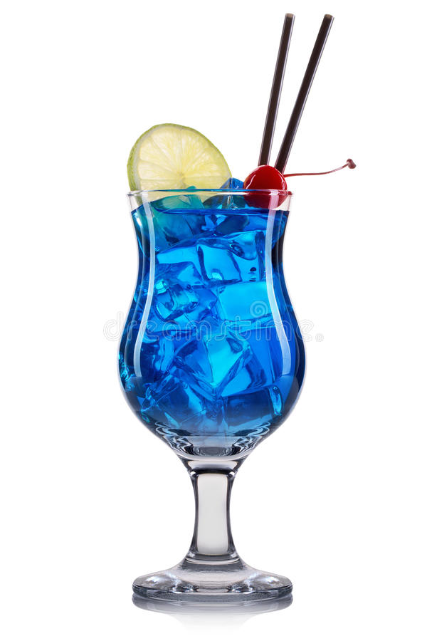 Blue curacao cocktail with lime and cherry isolated on white background royalty free stock photography
