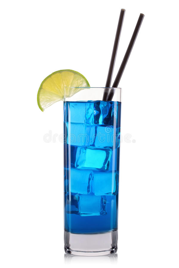 Blue curacao cocktail with lime in tall glass isolated on white background. Blue curacao cocktail with lime and cherry in tall glass isolated on white background royalty free stock images