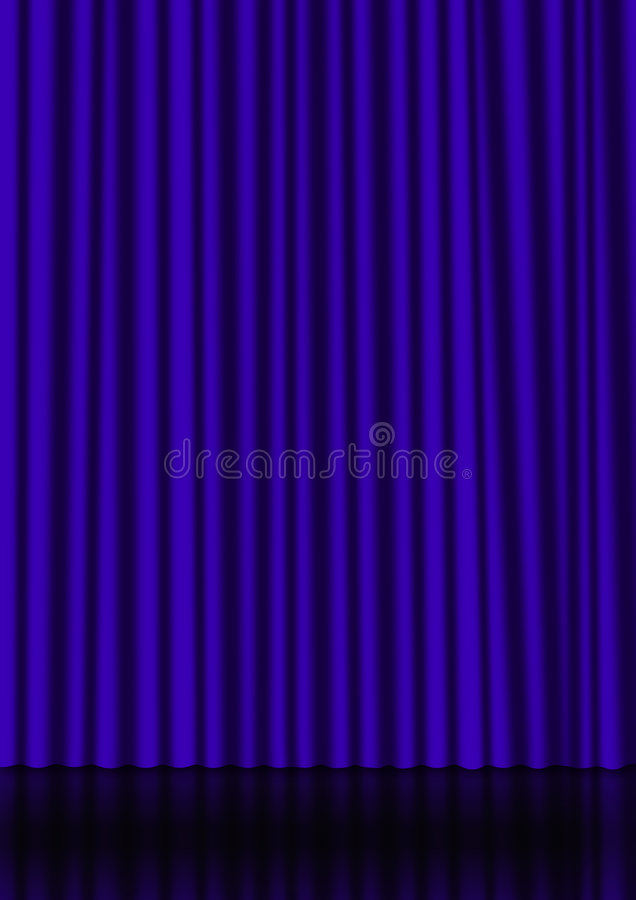 Blue curtain. On a stage with a reflection on the background vector illustration