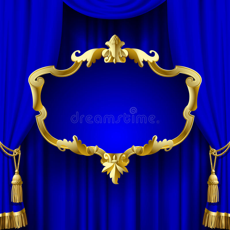 Blue curtain with a decorative gold baroque frame royalty free illustration
