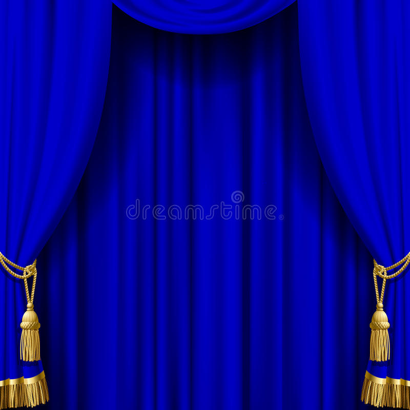 Blue curtain with gold tassels vector illustration