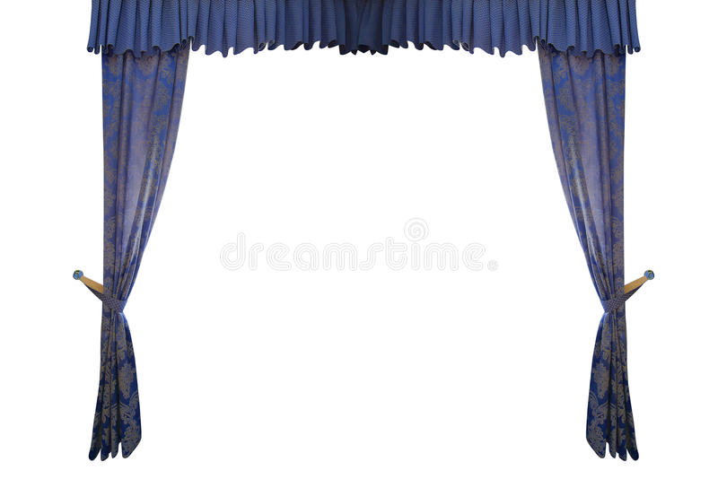 Blue curtain isolated on white background.  royalty free stock photography