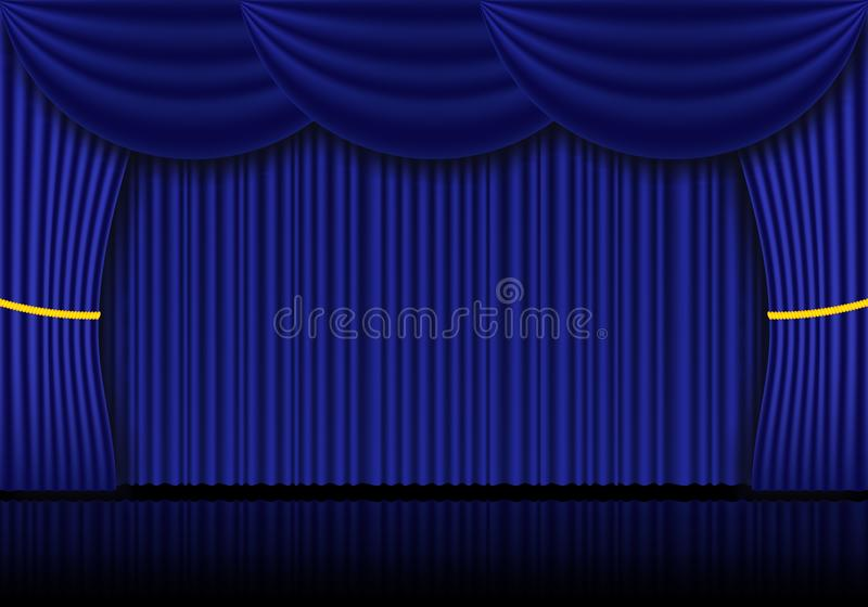 Curtain Drapes Blue Theater Background Stock Illustrations – 601